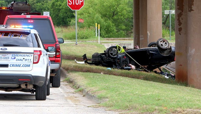 Wichita Falls police investigate a single-vehicle rollover Saturday morning in the 1900 block of Central Freeway.