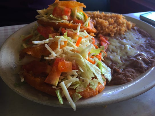 Three bean gorditas, with rice and beans ($5.99).