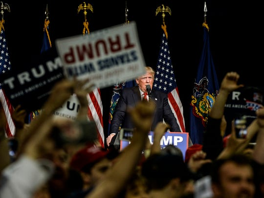 Donald Trump speaks at his rally at the Pennsylvania Farm Show Complex in Harrisburg on April 21, 2016.
