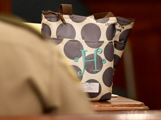 The lunchbox belonging to Holly Bobo was identified by Jon Graves on day three of the Holly Bobo murder trial, Wednesday, September 13, in Savannah, Tenn. Graves testified that he found the lunchbox while helping with the search of Holly Bobo. Zach Adams is charged with felony first-degree murder, especially aggravated kidnapping, aggravated rape of Holly Bobo.