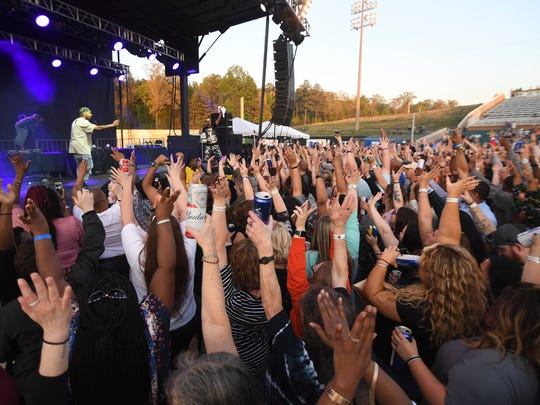 Nelly, Bone Thungs-n-Harmony, and Juvenile performed at The Ballpark at Jackson, Friday, April 27. Over 7,000 people attended the concert.