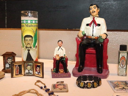 "A variety of paraphernalia of the Mexican ""narco-saint"" Jesus Malverde."