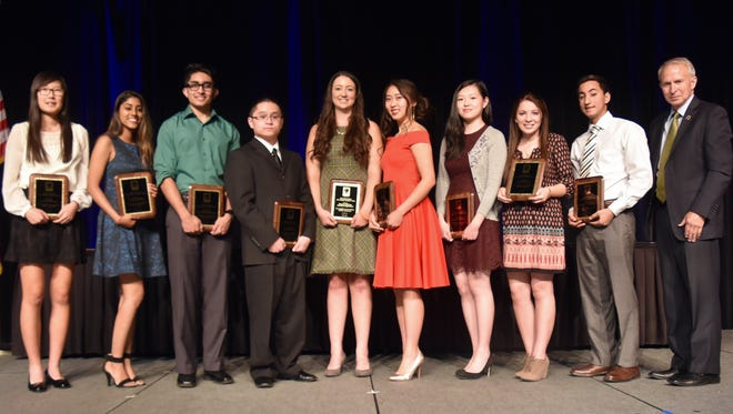 Along with Riverside County Superintendent of Schools, Kenneth M. Young, the top 10 high school students from the class of 2016 in Riverside County are (from left to right): Claire Ha, Chandni Tailor, Akash Patel, Jason Huynh, Rachael Phillips, Cathy Ding, Ashlee Fong, Sarah Nedjar, and Matthew Gayed. (Not pictured is Olivia Lewke).