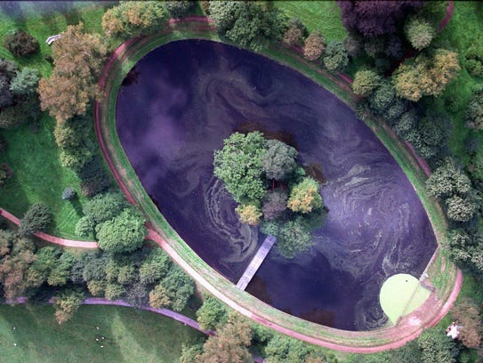 An aerial photo of the island where Princess Diana