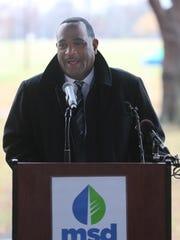 Tony Parrott, MSD Executive Director spoke before breaking ground on the new $60 million Shawnee Park basin project. Dec. 6, 2016.