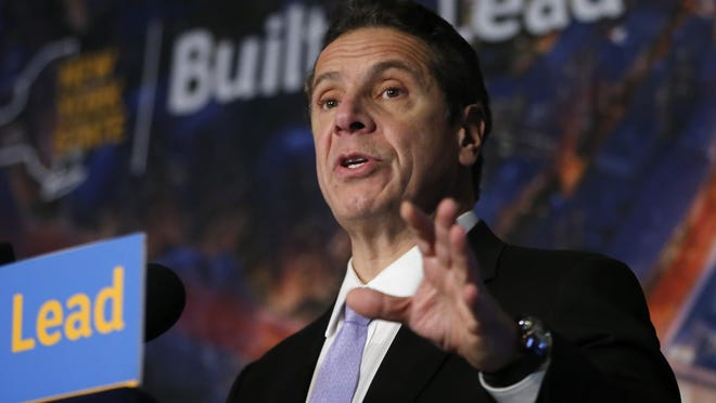 New York Gov. Andrew Cuomo speaks during a news conference Jan. 6 in at Madison Square Garden in New York.