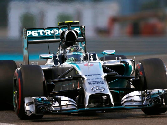 Mercedes F1 driver Rosberg of Germany drives during the qualifying session of the Abu Dhabi F1 Grand Prix at the Yas Marina circuit in Abu Dhabi