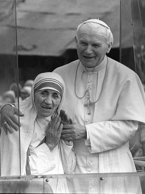 Before sainthood, Pope John Paul II and Mother Teresa in 1986.