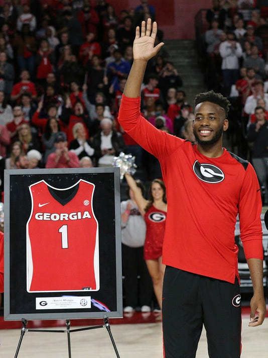 Georgia senior Yante Maten is honored at the final home NCAA college basketball game of the season, against Texas A&M on Wednesday, Feb. 28, 2018, in Athens, Ga. (Curtis Compton/Atlanta Journal-Constitution via AP)