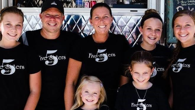 The Miller family of Tuckerton are the owners of Five Sisters Food Truck and Shore Creperie. The Millers are, from left, Summer, George, Libby, Hailey and Ashley. In the front are Piper and Savannah.
