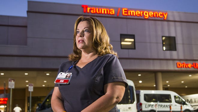 Debbie Bowerman, a nurse at Sunrise Hospital and Medical Center in Las Vegas, was at work when hundreds of wounded and dying arrived Oct. 1, 2017, after the worst mass shooting in modern American history. Bowerman helped assess the wounds of dozens of gunshot victims as they arrived in police cars, pickup trucks, limos and ambulances.