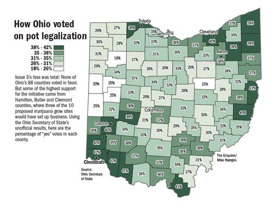 How Ohio voted on pot legalization.