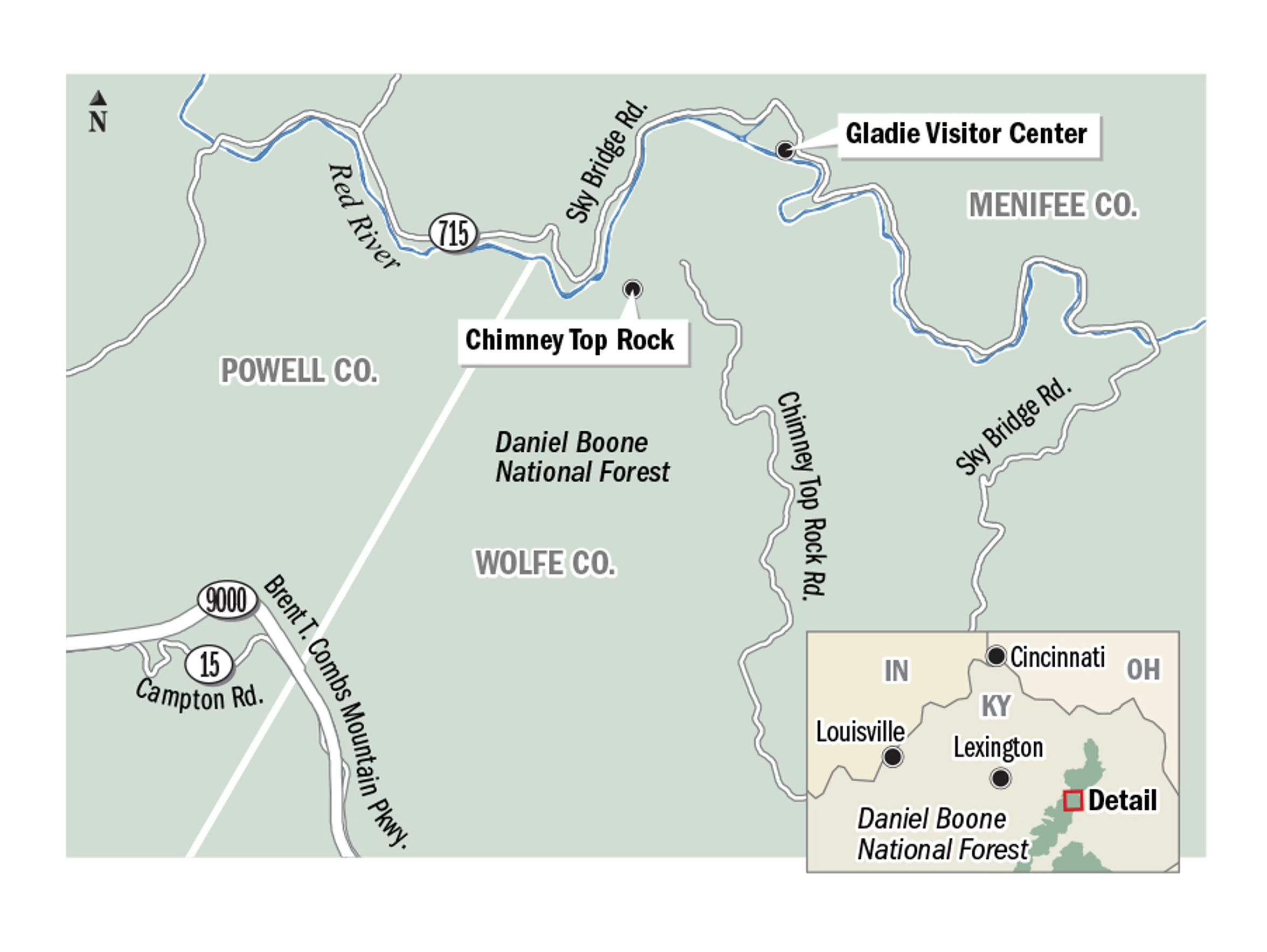 A map of Red River Gorge