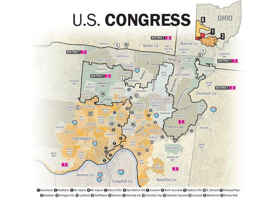 Ohio's U.S. congressional districts that include the
