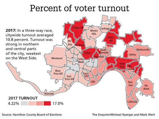 2017 Cincinnati primary voter turnout map