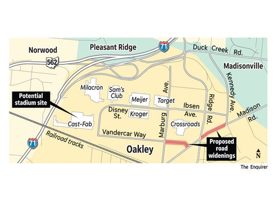 Where would the FC Cincinnati stadium go? This site in Oakley has been proposed.