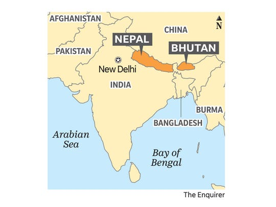 Bhutan and Nepal are neighbors of India. Bengal tigers