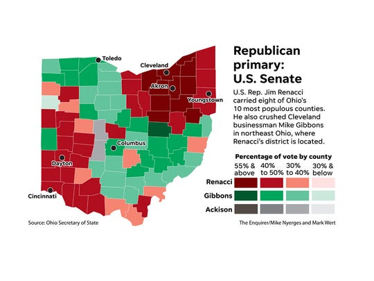 Map: 2018 Ohio primary Senate results