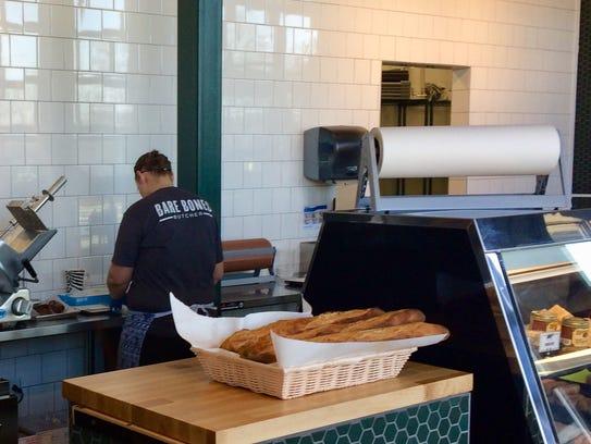 Assembling the sandwiches at Bare Bones Butcher.