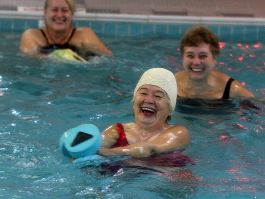 Martha Ponce of Ocean Twp. participates in the Wet and Wild class in the pool at Shore Fit Club and Spa in Oakhurst, NJ Monday October 19, 2015.