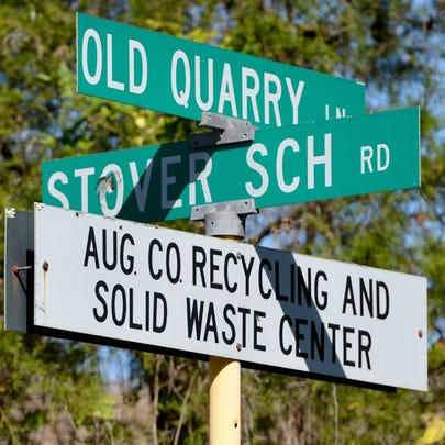 A sign at Old Quarry Lane and Stover School Road marks the way to the Augusta County Recycling and Solid Waste Center on Old Quarry Lane.