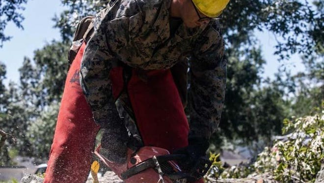 Marines and sailors from 2d MARDIV aboard Camp Lejeune support the base recovery efforts after Hurricane Isaias.
