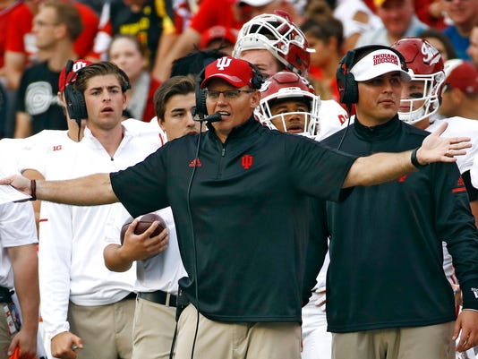 FILE - In this Oct. 28, 2017, file photo, Indiana head coach Tom Allen reacts after his team received a delay of game penalty in the first half of an NCAA college football game against Maryland in College Park, Md. Indiana plays Purdue on Saturday, Nov. 25, 2017. (AP Photo/Patrick Semansky, File)