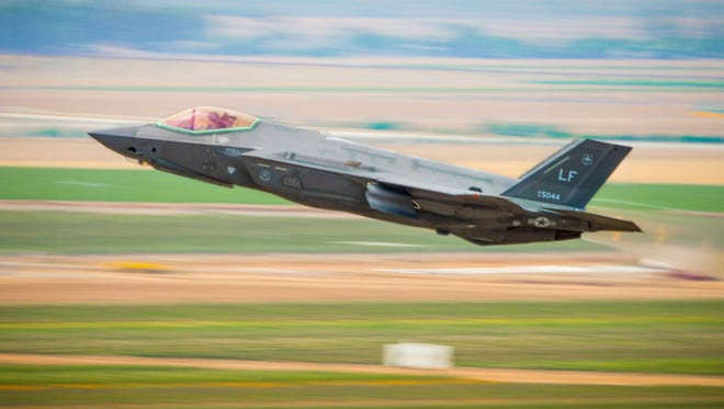 A 56th Fighter Wing F-35A Lightning II takes off from Luke Air Force Base, Ariz. in 2017.