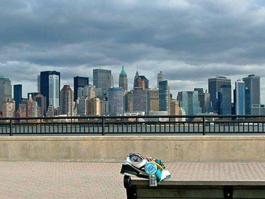 The MSA Shoe checks out the New York City skyline from Liberty Island N.J.