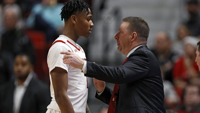 Texas Tech coach Chris Beard talks to Terrence Shannon Jr. (1) during the second half of a nonconference game Dec. 29, 2019 against Cal State Bakersfield at United Supermarkets Arena. Shannon Jr. is expected to be one of several key returners for the Red Raiders this fall.