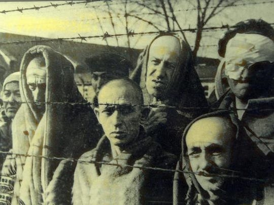 An image of concentration camp inmates on display at the Rockland Holocaust Museum and Study Center.