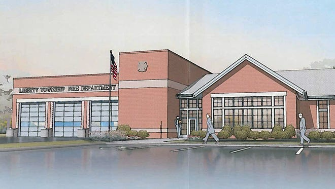 This is an artist's rendering of what Liberty Township's fourth fire station might look like. Closing for the three acres of land it will sit on along Cincinnnati-Dayton Road, will be held by year's end.
