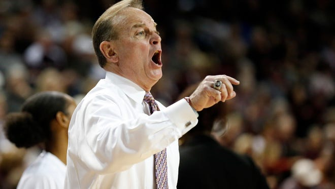 Mississippi State head coach Vic Schaefer calls out to players during the second half of the NCAA college basketball game against Florida.