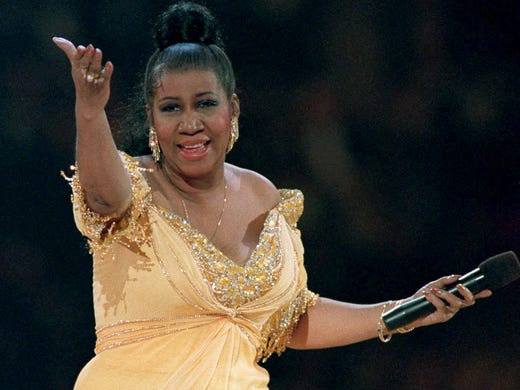 Aretha Franklin on stage in January 1993.