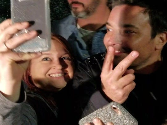 Valerie Burba takes a selfie with Jimmy Fallon outside