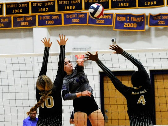 Wylie outside hitter Bailey Ann Toliver kills the ball