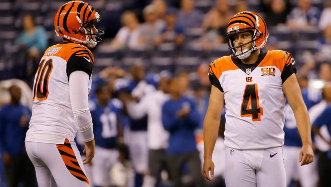 Cincinnati Bengals kicker Randy Bullock (4) after missing a field goal attempt in the fourth quarter of the NFL Preseason Week 4 game between the Indianapolis Colts and the Cincinnati Bengals at Lucas Oil Stadium on Aug. 31.