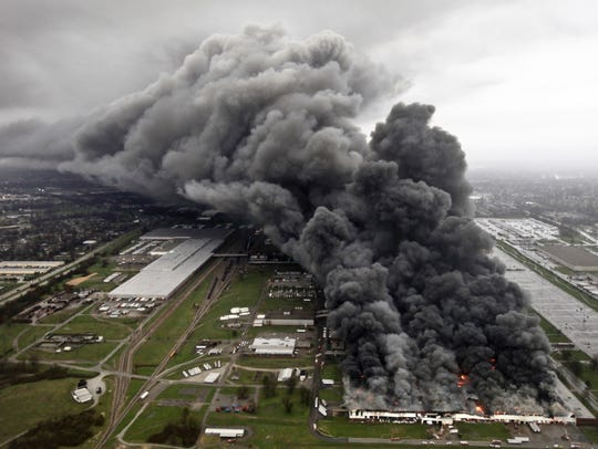 Building 6 at GE's Appliance Park is consumed by fire