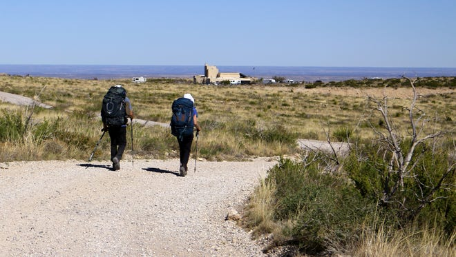 Hikers from the Colorado Mountain Club and Highpointers Club near the Carlsbad Caverns National Park during a test run of the Guadalupe Ridge Trail in April 2016.