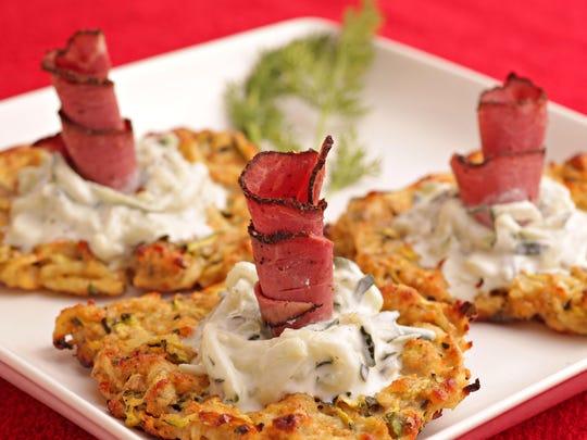 Potato-Zucchini Latkes With Tzatziki and Beef Pastrami.