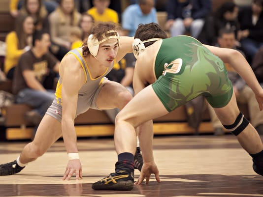 The University of Wyoming Cowboy Wrestling team defeated the Cal Poly Mustangs 35-2 on Jan. 23, 2016.