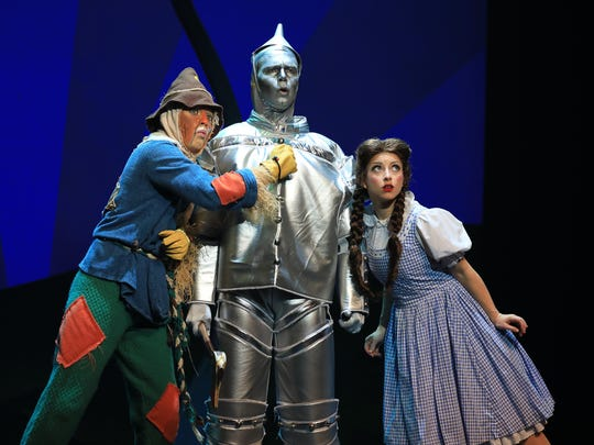 "From left, Jack Saleeby, Kalie Kaimann and Nick Gurinsky star in the national tour of ""The Wizard of Oz."""