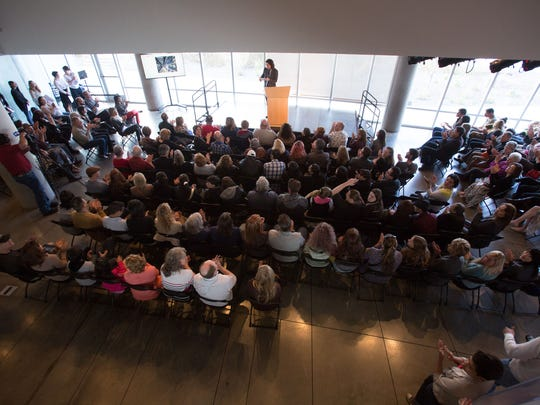 Hundreds of Northern Nevada junior high and high school students, accompanied by family, friends and teachers, fill the Nevada Museum of Art atrium during the 2015 Scholastic Art Awards on March 21.