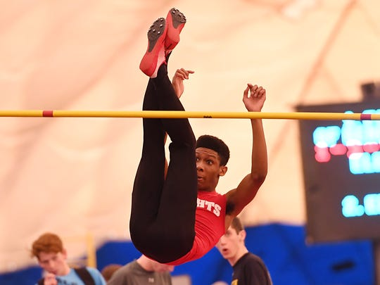 NJSIAA Boys State Indoor Track and Field Championships at John Bennett Indoor Sports Complex in Toms River on Saturday, Feb. 25, 2017. Kennedy's Jason Thobourne competes in the high jump.