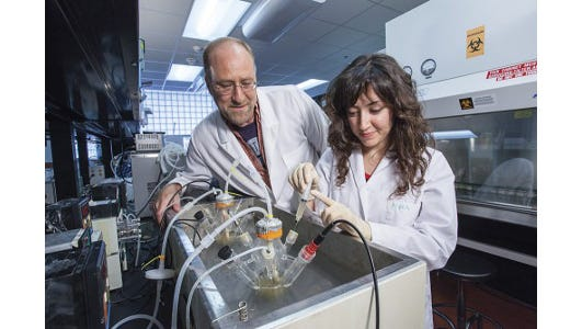 Jim Steele, pictured in his lab with research assistant Busra Aktas in 2013, says anyone at UW–Madison who has an idea for a product or is interested in commercializing a discovery should get plugged into the university's entrepreneurship pipeline early.