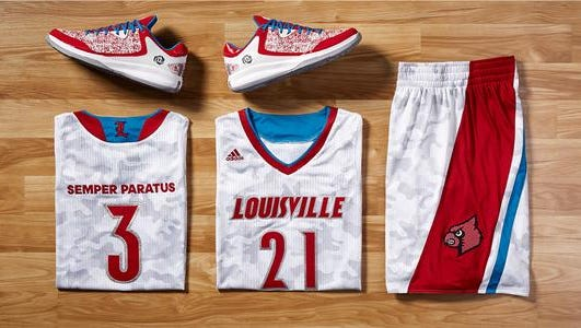 These are the threads the Louisville basketball team will wear in the Armed Forces Classic vs. Minnesota this week