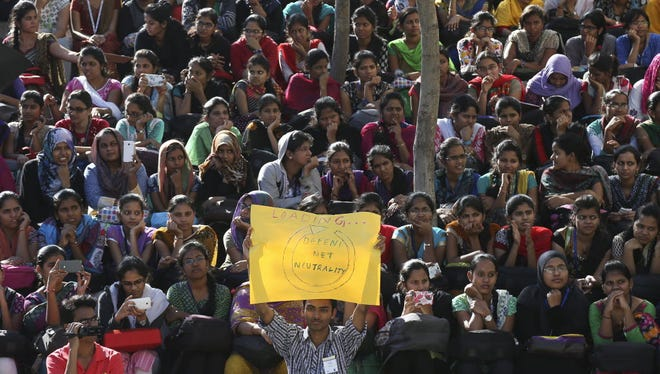 """Indian students gather for a protest against Facebook's """"Free Basics"""" in Hyderabad, India on Dec.29."""