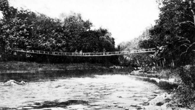 This swinging bridge was on the north end of Small field, is believed to have been built by York Safe and Lock to allow workers a shortcut across the creek. It's long gone but stories remain about boys making it swinging or harassing others trying to cross the span, wide enough for only one.