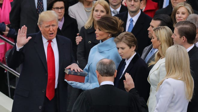 Donald Trump being sworn in as the 45th president of the United States.