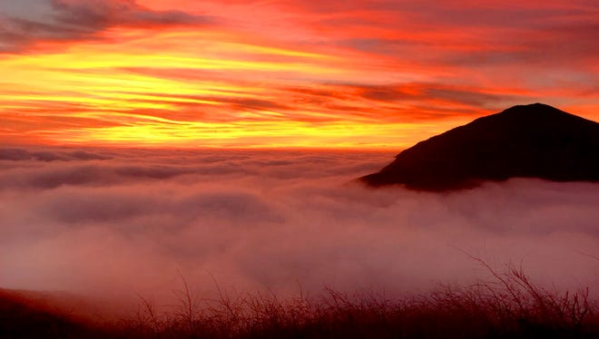 A sunset from the top of Ray Miller Trail at Point Mugu State Park.